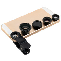 Black 4In1 Universal Clip Lens For Mobile Phone Fish Eye Macro Lens Super Wide Angle CPL Circular Filter For Iphone 4 5s Samsung