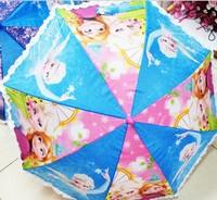 Wholesale Frozen Umbrella Kids Cartoon Lace Umbrella 3 Color Mixed Free EMS Shipping P140704147