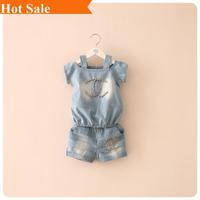 Summer 2014 fashion baby girls set beads denim shorts suit letters kids child Clothing Children's clothes