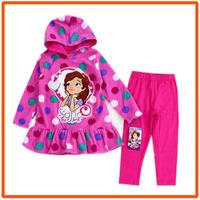 Girls Sofia Clothing Sets Kids Autumn Casual Suit New 2014 Wholesale Children Dotted Dresses & Legging 6sets/Lot 1-7389