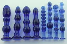1 pcs fêmea grande azul transparente cristal de vidro pênis pau pau de plug anal vaginal bumbum vara estimulador brinquedos sexuais(China (Mainland))