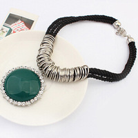 2014 Fashion Brand Jewelry Women's Black Braid Rope Green Resin Round Vintage Pendant Necklace Wholesale Free Shipping#107667