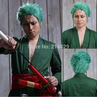 Free Hairnet Roronoa Zoro One Piece Short Green Halloween Anime Cosplay Party Costume Full Wig