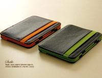 2014 South Korea magic wallet New Mens MAGIC MONEY clips for men purse orange & green size 10*7*0.8cm