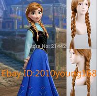 Free Hairnet Fashion Frozen Snow Queen Anna Long Brown Braids Anime Costume Cosplay Wig full hair