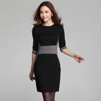 women work wear dress 2014 spring autumn new casual elegant half sleeve knee-length slim skinny pencil dress plus size XL