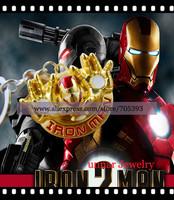 10pcs/lot Super hero Metal Figure Pendant Classic Face Color Pewter Keyring The Avengers Iron Man Keychain