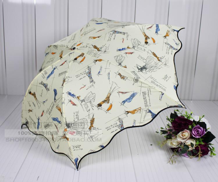 Free Shipping 4 Colors Sunny Rain Women Umbrella Shivering Children Girl's Princess Pencil Falbla Corrugated Edge Umbrellas(China (Mainland))