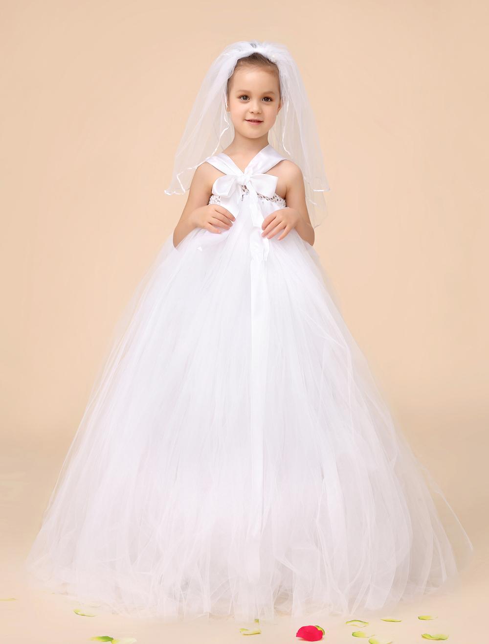 ivoire robe de princesse robe de bal en tulle fleur fille robes enfants avec un arc robe de cérémonie robe tutu livraison gratuite voile est inclus