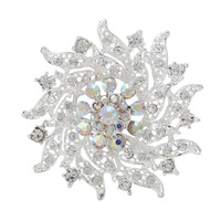 2014 Fashion Silver Women Shining Flower Brooch Wedding Rhinestone