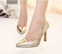 2014 fashion summer pumps shallow mouth pointed toe gold silver ol genuine leather high-heeled shoes wedding shoes bridal shoes