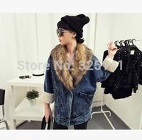 women winter coat detachable fur collar with velvet suit collar batwing sleeve denim outerwear jacket type wadded jacket