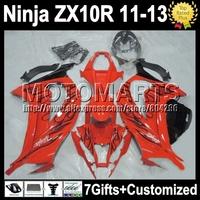 7gifts Injection  For KAWASAKI NINJA ZX10R  black flames ZX-10R K2217 ZX 10R 11 12 13 gloss orange not red 2011 2012 2013 Fairin