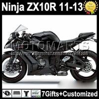 7gifts For KAWASAKI all black NINJA ZX10R  ZX-10R 11 12 13 K2223 ZX 10R 10 R hot glossy black 2011 2012 2013 Injection  Fairing