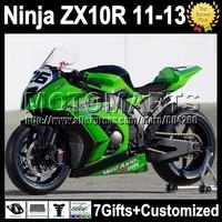 green black 7gifts Injection  For KAWASAKI NINJA ZX10R  ZX-10R K2218 factory green ZX 10R 10 R 11 12 13 2011 2012 2013 Fairing