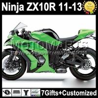 7gifts For KAWASAKI NINJA green black ZX10R  ZX-10R 11 12 13 K2224 ZX 10R 10 R 2011 2012 2013 gloss green blk Injection  Fairing