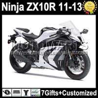 7gifts For white black KAWASAKI NINJA ZX10R  ZX-10R 11 12 13 K2222 ZX 10R gloss white blk 10 R 2011 2012 2013 Injection  Fairing