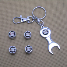 Free shipping Car Wheel Tire Valve Caps with Mini Wrench & Keychain for Seat (4-Piece/Pack)(China (Mainland))