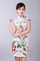 2014 Fashion  Style Silk Chinese Women's Tradition Mini Qipao Top Short Cheongsam Evening Dress Tang's Suit S TO XXL D0181