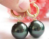 Beautiful AAA Grade 16mm black Shell Pearl Perfect Round Beads Earrings 14k