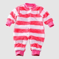 baby boys and girls stripe fleece romper autumn and winter clothes