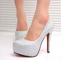 Aesthetic pearl rhinestone wedding  ultra high heels bridal shoes crystal thin heels white shoes