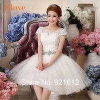2015 Casamento Mariage Cheap Vestido De Novia Gown Bride Sexy Fashionable Lace Short Vintage Crystal Belt Wedding Dress WDE03