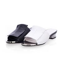MEMOO 2014 Summer Women US Size4-12 Fashion Sandals Flat Flops Slip-On Rubber Rhinestone Full Grain Leather Cover Black A3075