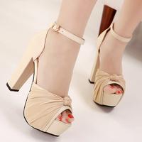 Princess high-heeled shoes sexy thick heel shoes low-top female hasp platform sandals cutout open toe shoe women's shoes
