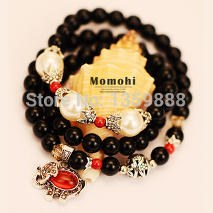 RiceChen SL033 amulet black onyx natural crystal bracelet female multi Garnet Tourmaline Bracelet Lucky bracelets jewelry(China (Mainland))