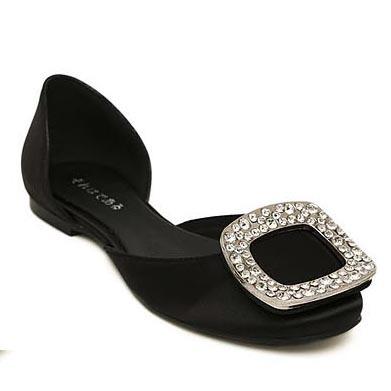 2014 Satin Round Toe Rhinestone Buckle Slip-on Women Flats Comfortable Lady Ballet Flats Ballerinas Dancing Shoes Free Shipping(China (Mainland))