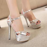 Fashion summer new arrival sexy paillette cloth platform thin heels 14cm ultra high heels open toe strap female sandals