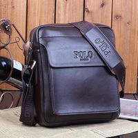 Men's Genuine Leather Bag 100% Vintage POLO Style Shoulder bag Brown_M211D