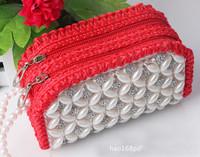 2014 new arrives brand women Beads wallet leather weave wallet fashion purse women clutch wallet ladies handbag mobile phone Bag