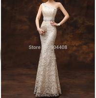 New Arrival Fashion Designer Sleeveless Long Evening Dresses Sheath Lace Scoop One-Shoulder Prom Dresses SH150