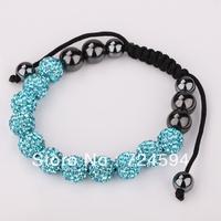 Women's and men's Xmas GiftNew Fashion 10mm CZ Disco Ball& Zinc Alloy Beads Macrame Bracelet XB129