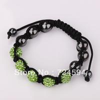 Women's and men's Xmas GiftNew Fashion 10mm CZ Disco Ball& Zinc Alloy Beads Macrame Bracelet XB047
