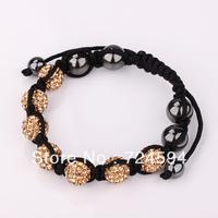 Women's and men's Xmas GiftNew Fashion 10mm CZ Disco Ball& Zinc Alloy Beads Macrame Bracelet XB065