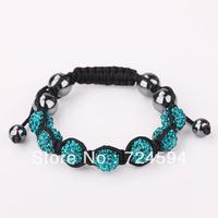 Women's and men's Xmas GiftNew Fashion 10mm CZ Disco Ball& Zinc Alloy Beads Macrame Bracelet XB071