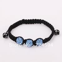 Women's and men's Xmas GiftNew Fashion 10mm CZ Disco Ball& Zinc Alloy Beads Macrame Bracelet XB028