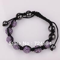 Women's and men's Xmas GiftNew Fashion 10mm CZ Disco Ball& Zinc Alloy Beads Macrame Bracelet XB062