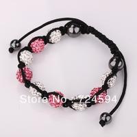 Women's and men's Xmas GiftNew Fashion 10mm CZ Disco Ball& Zinc Alloy Beads Macrame Bracelet XB116