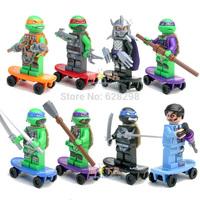 Free Shipping High Quanlity No box Turtles Mini Figure Michelangelo Dark Turtle 8pcs/set  Child Educational Building Blocks toys