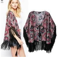Brand New Fashion Women's Vintage cashew nut Print Tassel Deco kimono Stylish Cardigan Blouse Blouses Jacket SML