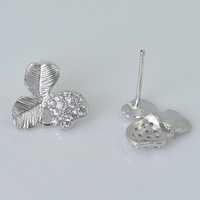 Wholesale 100pcs Silver Plated Flower Leaf with little Shiny stones Earrings,For Girl Gift Diy.Stone Jewelry Making