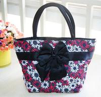 Bangkok package cotton bag satin bow rhombohedrons flower cloth handbag