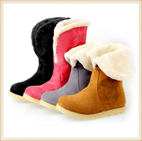 2014 new fashion warm women flats snow  boots winter boots women shoes rubber boots black, gray,yellow,red for choice size34-43