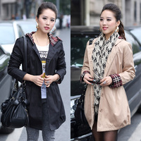2014 spring and autumn new woman medium-long hooded  trench coat plus size clothing trench outerwear  slim overcoat C629