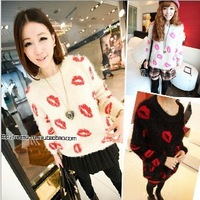 New Arrival Women's Knitted Pullover Sweaters Lip Pattern Mohair 4 Colors