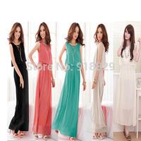 Fashion Women Bohemian Boho Maxi Dress Chiffon Long Pleated Sundress Party Dress Black Floor-Length  Free Shipping